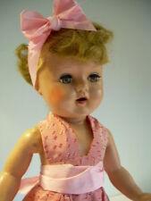 "Vintage Hard Plastic 19"" Lady Doll Halter Dress Sleep eyes Pretty w open mouth"