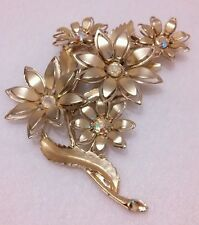 Vintage Coro Gold Tone Rhinestone Aurora Borealis Flower Gold Tone Brooch Pin