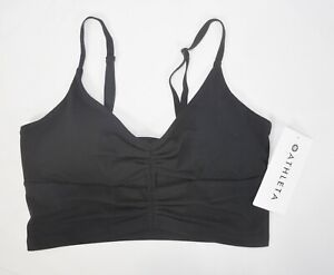 NWT $59 Athleta S & M A-C Black Cinch Longline Sports Yoga Bra Powervita #599775