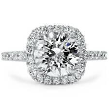 1 3/4 карат подушка ореол обручальное кольцо с бриллиантом круглые G-Si 14K белое золото улучшенная
