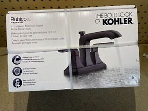 Rubicon 4 in. Centerset 2-Handle Bathroom Faucet in Matte Black by Kohler