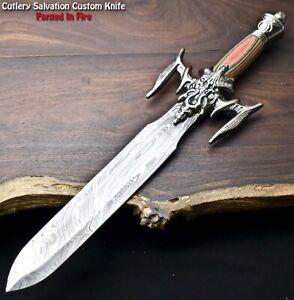 Rare Custom Hand Made Damascus Steel Blade Dagger Hunting Knife | HARD WOOD