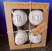 Rae Dunn By Magenta 4pk Ivory Ceramic Ornaments SANTA HOLLY JOLLY JINGLE - NIB