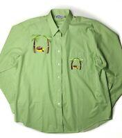 Las Olas Gingham Monkey Hammock Shirt Sz XL Long Sleeve Rare NWOT