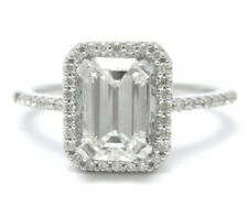 925 Starling Silver 3.5Ct Off White Brilliant Emerald Moissanite Engagement Ring