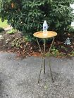 Vintage metal round side table faux bamboo MCM patio 36  brass top Wild bar look