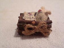 Vintage Dollhouse Miniature Sugar & Flour Sacks in Wood Crate 1:12 Scale