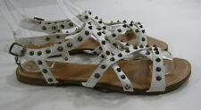 Summer NEW white gold spikes   SHOES ROMAN GLADIATOR  SANDALS  SIZE  8  p