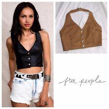 NEW Free People X American Vintage Leather Bustier Top Size Medium Crop Halter