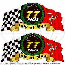 "ISLE of MAN TT Races MANX Moto GP Racing Bike-Helmet Decals Stickers 3""(75mm) x2"