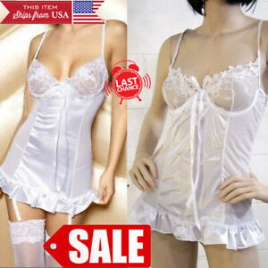 Sheer Lingerie White Lace Up Teddy Bridal Boudoir Valentine's Day Gift M-3X SALE