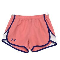 Under Armour Loose Heat Gear Shorts Youth Large YLG Peach Purple Drawstring
