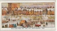Bull-Baiting on Frozen Thames  Ice  At Southwark 1608  80+ Y/O Ad Trade Card