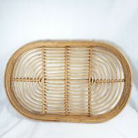 Bamboo Tray Oval Bar Ware Serving Tray Vintage