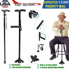 Folding HurryCane All-Terrain Pivoting Base Walking Stick Cane 2 Style Available