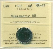 1982 Canada 10 Cent NBU ICCS MS-67, Very Affordable for New Hobbyist