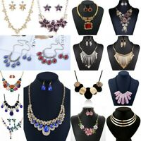 Women Crystal Flower Bib Necklace Pendant Chain Statement Choker Chunky Jewelry