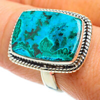 Malachite In Chrysocolla 925 Sterling Silver Ring Size 9.25 Jewelry R40981F