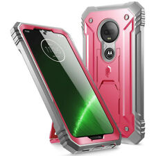 Moto G7 Case,Poetic [w/Kick-stand] Armor Heavy Duty Shockproof Cover Pink