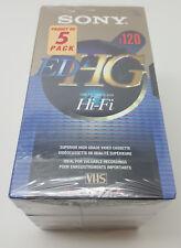5 Pack Sony T-120 EDHG VHS Superior High-Grade Video Cassette Hi-Fi 6 Hours EP