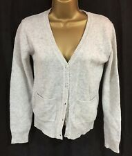 New Ladies Cardigan 8 Grey V Neck Wool Mix Button Long Sleeve Casual Smart Work