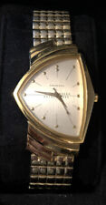 Men's Hamilton Ventura Gents Watch~6250A~Registered~Gold-White-Mesh Speidel Band