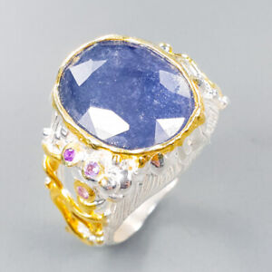 Blue Sapphire Ring Silver 925 Sterling Handmade Jewelry Size 7 /R148868