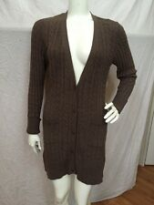 One Girl Who Taupe Cashmere Cable Knit Longer Length Cardigan Sweater Sz S