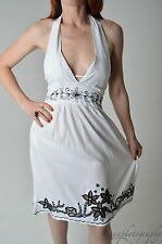 BNWT  KIRRA Australian Beachwear White Beach Dress with Black Embroidery