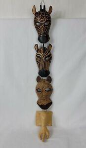 Hand Carved Wood Animal Masks Hanging Wall Decor Giraffe Zebra Cheetah Elephant