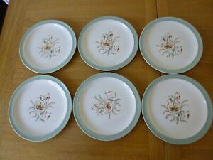 "6 Wedgwood Etruria & Barlaston Tiger Lily 9"" Salad/Dinner Plates - Vintage"