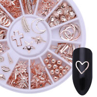 Rose Gold Starfish Shell Geometry Pentangle Leaf 3D Nail Art Decoration In Wheel