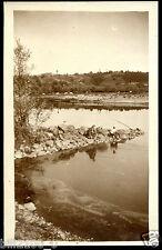 03. Allier . environs de Hérisson . pêcheurs dans le Cher . photo ancienne