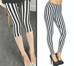 Vertical Striped Black&White 3/4 Length / Full Length LEGGINGS S- XXL