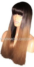 Human Hair Blend Wig Glueless Front Lace 22 Long Light Dark Brown 2 6 Ombre 180%