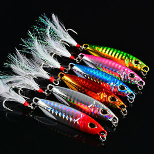 6pcs Metal Fishing Jig Lures Offshore Slow Jigging Lures Feather Treble Hooks