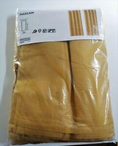 "Ikea Mariam mustard/ochre/yellow eyelet curtains 145cm/57"" wide x 259cm/98"" drop"