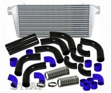 "31""X11.5""X3"" Turbo Intercooler Fmic+3"" 12Pcs Aluminum Piping Pipe Kit Black/Blue"