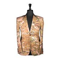 Men's Blazer Slim Jacket Elbow Patches Army Green Camo Casual Sport Coat 38R