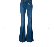 GUCCI Bumblebee Butterfly Patches Bell Bottom Flare Blue Washed Jeans Size 30/31
