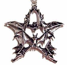 SILVER BAT PENTAGRAM PENDANT vampire demon wings pentacle star necklace metal 1I