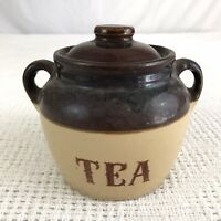Brown Stoneware Two Tone Crock Primitive Style Lidded Tea Canister w/Handles VTG