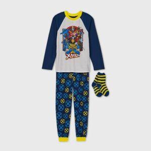 Boys' Marvel X-Men 2pc Cozy Pajama Set with Socks - Blue M