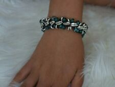 NEW Uno De 50 Silver Teal Murano Glass Leather SUNRISE Statement Bracelet 7.5""