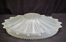 Vintage Antique Art Deco Frosted Rib Glass Ceiling Light Lamp Shade 1 Hole Mount