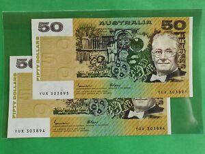 UNC Consecutive Australian 1985 Johnston/Fraser $50 OCR- B Type Banknote R509b