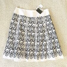 NWT Womens MEXX Size 10 NEW Embroidered Skirt Eyelet Black White Panel A-Line