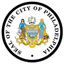 "City of Philadelphia Seal car bumper sticker window decal 4"" x 4"""