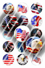 Pre-Cut Bottle Cap Images American Flag Collage Sheet R449 - 1 Inch Circles