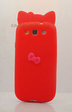 FOR SAMSUNG GALAXY S3 cute hello kitty SOFT CASE RED WITH HOT PINK 3D BOW /i9300